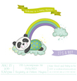 Baby Shower Card - Baby Panda on a Rainbow vector image vector image