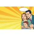 Happy retro family on the poster vector image