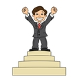 Businessman is standing on pedestal vector image