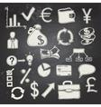 Finance and business doodle on blackboard vector image