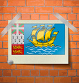 Flags Saint Pierre Miquelon scotch taped to a red vector image