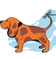 funny dog and dragonfly vector image