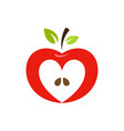 heart shaped apple logo label emblem vector image