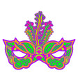 multicolor carnival mask with feathers isolated on vector image