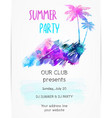 poster template for summer party with grunge vector image
