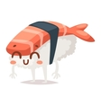 Sushi character isolated vector image