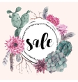 Vintage sale card with branches and succulent vector image