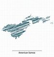 Doodle sketch of American Samoa map vector image vector image