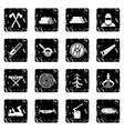 Timber industry set icons grunge style vector image