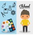 cartoon school pupil boy palette paint color vector image