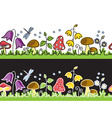 Summer flowers and mushrooms on meadow vector image