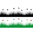Spring borders with grass and butterflies vector image vector image