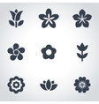black flowers icon set vector image