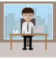 Businessman sitting at his office desk with open vector image