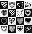 Hearts grunge background pattern vector image