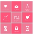 Set of flat design romantic icons for web and vector image