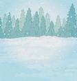 Vintage background winter forest landscape vector image