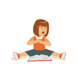 weeping sad girl character sitting on the floor vector image