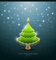 Christmas Green tree Greeting Card vector image