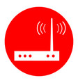 wifi modem sign white icon in red circle vector image