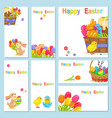 concept of happy easter chicken flowers bunny vector image