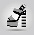 Single women platform high heel shoe with striped vector image
