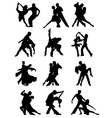 Set of Silhouettes of Dancing Couple vector image