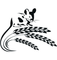 a mouse and wheat spikelets vector image vector image