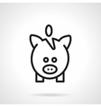 Black line piggy bank simple icon vector image