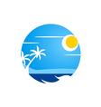 beach abstract sunset tropic logo vector image