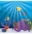 coral fish and octopus icon Sea life design vector image
