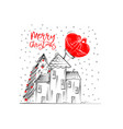 merry christmas greetings cards hand drawn with vector image