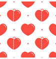 Normal and broken red hearts seamless pattern vector image