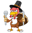 Turkey Mascot Holding A Knife Fork vector image