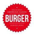 Burger vintage label red vector image