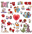 valentine cartoons set vector image