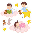set of isolated babies on cloud and star vector image