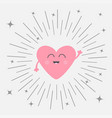 pink heart face head with hands cute cartoon vector image