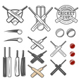 Set of cricket team emblem design elements vector image