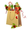 paper bag full of christmas balls vector image vector image
