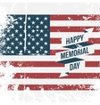 Happy Memorial Day USA grunge Flag Background vector image