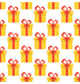 christmas seamless pattern with yellow gift boxes vector image