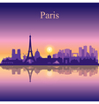 Paris silhouette on sunset background vector image