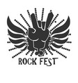 rock fest icon logo design in black and white vector image