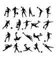 soccer football player silhouettes vector image vector image