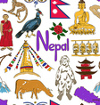 Sketch Nepal seamless pattern vector image