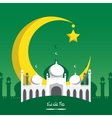 Crescent moon with white mosque for muslim vector image