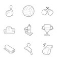 Sport things icons set outline style vector image