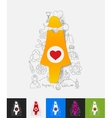 pregnant paper sticker with hand drawn elements vector image