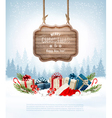 Christmas background with a retro wooden sign and vector image